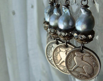 Ireland Irish Rabbit Coin Earrings Three Pence Coins Bunny Hare Soft Blue Baroque Pearls Multiple Dates Available