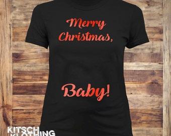Christmas Maternity Shirt   Pregnancy reveal Shirt   Maternity Tshirt   Birth Announcement shirt   Christmas baby   Plus size too   AR-135