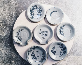 Spoon rest ring dish - gray blue ceramic jewelry holder spoonrest - pretty charming funny spoon me handmade pottery