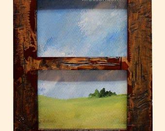 Small Landscape Painting, Window, Frame, Original Art, Original Painting, Office, Home Decor, Wall Art, Painting, Winjimir, Gift, Trees, Sky