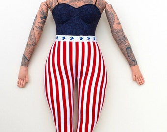 Stars and stripes Tattooed Lady doll retro circus plush