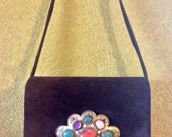 SALE Rare Vintage Judith Lieber Purse with Gemstones - Brown Suede Handbag - Accepting Reasonable Offers