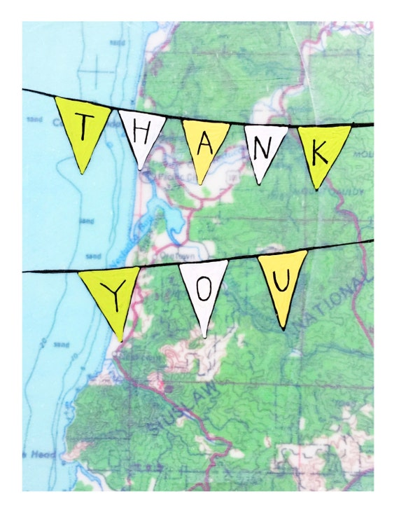 NEW // Thank You Banner Card // Cute Thank You Card // Map Card // Rachel Austin Art