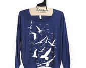 SALE Small- Navy Tri-Blend Sweatshirt with Night Birds Silhouette Print