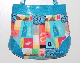 Alice in Wonderland Tote Purse - Fabric Vinyl Purse, Fairy Tale Fabric, Pastel Kei, Pleated Purse, Book Purse, Reader Gift, Lolita Purse