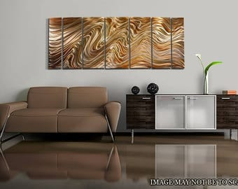Extra Large Multi Panel Modern Metal Wall Art in Golden Copper, Abstract Metal Painting, Home & Office Decor - Mystic Desert XL by Jon Allen