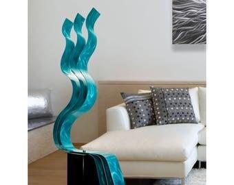 Abstract Aqua Freestanding Metal Sculpture, Handmade Indoor-Outdoor Modern Metallic Garden Art - Aqua Transitions by Jon Allen