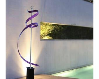 Purple Indoor-Outdoor Contemporary Metal Sculpture - Handmade Freestanding Abstract Metal Yard Art - Purple Ribbon Dancer by Jon Allen