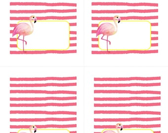 Flamingo Food Tent Cards