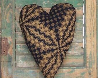 Antique Coverlet Pillow, Primitive Blue Heart, Rustic Home Decor, Farmhouse Decor, Americana Cottage Small Pillow, Blue Ecru - READY TO SHIP