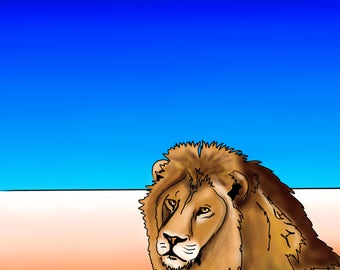 Lion - colourful abstract fine art print by Amanda Hone