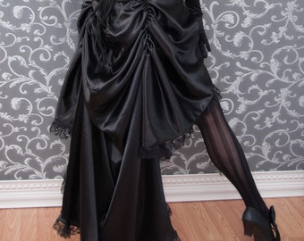 My Faire Lady - Black Steampunk Bustle Skirt High Low Long Short - Ready to Ship