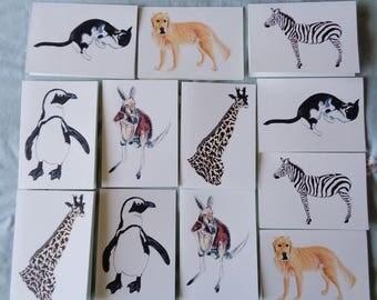 12 Notecard Set - Animal Party