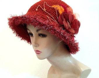 Crochet hat cloche hats for women orange hat womens hat bucket dressy hat womens fedoras trendy wide brim hats