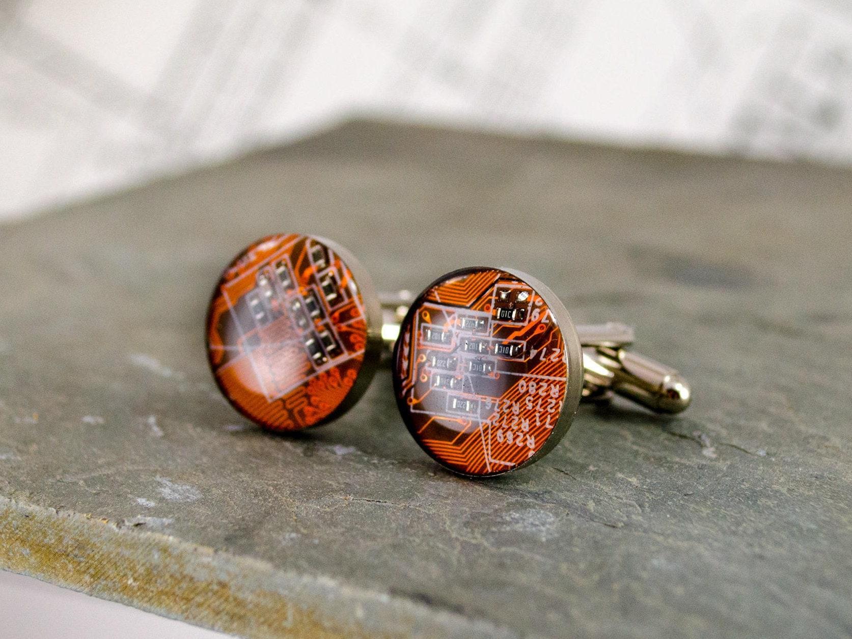Circuit Board Cufflinks Tangerine Orange Wearable Technology Engineer Gift Groomsman Computer Cuff