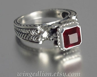 CARYATID Silver Ring with octagon Ruby
