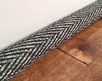 HERRINGBONE door draft stopper / black, white and gray herringbone draft stopper