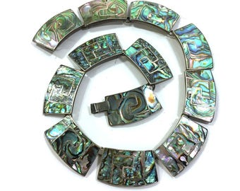 Taxco Sterling & Abalone Necklace / Vintage 50s Signed LS Eagle 3 Hallmark Mexican Silver Mosaic Inlay Collar Choker