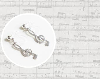 Simple Silver Music Note Charm Earrings. Treble Clef Invisible Clip On Earrings. U-Clip Earrings. Non-pireced Earrings. Music Note Earrings
