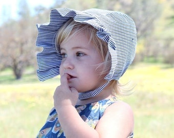 Ruffle Sunbonnet for Baby Girls in Black and White Stripes