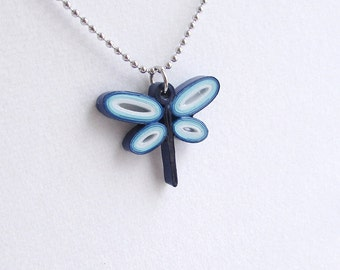 Paper Quilled blue dragonfly pendant necklace, stainless steel chain, cute gift for her, gifts for friend, dragonfly gifts,