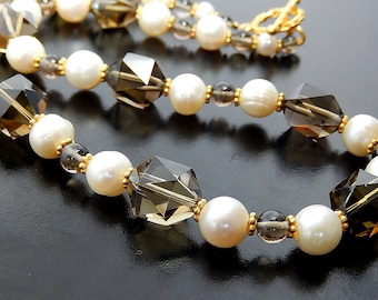 Smoky Quartz Necklace, Pearl & Gold Vermeil, Gemstone Jewelry