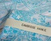 Cambridge Hankie - screen printed vintage map handkerchief