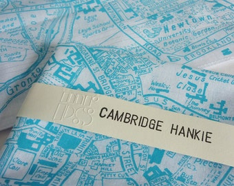 Cambridge Hankie - screen printed vintage map handkerchief