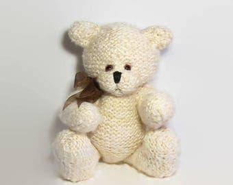 Knitted Teddy Bear, Collectible Teddy Bear, Artist Teddy Bear, Jointed Teddy Bear, Hand Knitted Cream Teddy Bear