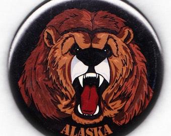 ALASKA Roaring Grizzly Bear U.S. State Souvenir Fridge Magnet