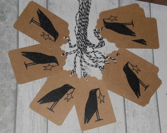 12 Primitive Hang Tags Gift Ties - Old Prim Country Crow with Star for Dollies Prims Ornies Kraft Brown Card Stock Bakers Twine