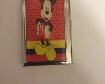 Red Mickey Mouse Business Card Holder Credit Card Case