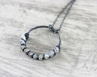 Labradorite Pendant Necklace, Black Oxidized Necklace, Sterling Silver Necklace, Labradorite Gemstone Necklace, Wire Wrap Circle Necklace