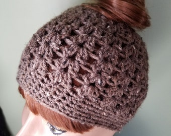 Messy Bun Adult Hat Teen Hat in Brown Tweed Beanie Ponytail Hat Crochet