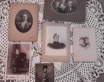 Vintage antique photographs, women lady girl, 1800's old photo people