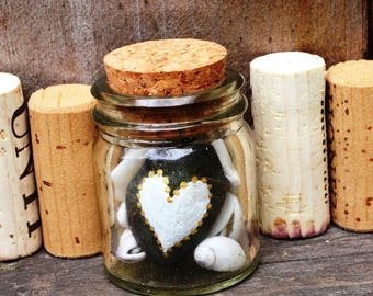 BOTTLED BEACH LOVE - Hand Painted Beach Rock & Shells from Santa Barbara