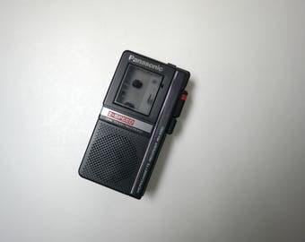 Panasonic microcassette recorder . 2 speed . one touch recording . made in Japan