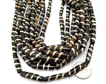 16 Dark Brown and Natural White Stripe Bone Beads, Tube Beads 24MM (H2455)