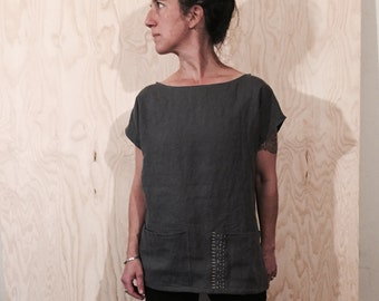Linen Tunic w Sashiko Stitch and oversized pockets - sewn to order in 10 colors