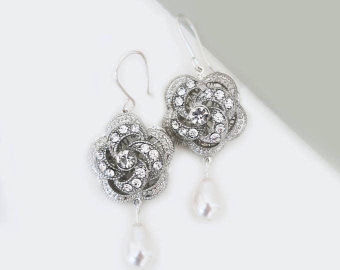 CZ Flower Earrings with Swarovski Drop pearl
