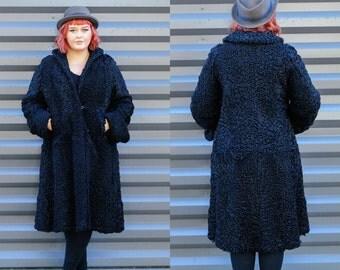 1950s, Fur Coat, Black Coat, Persian Wool Coat, Size Large Coat, USA Made, Long Black Coat, Driving Coat, Real Fur Coat, Winter Coat