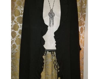 Vintage Black Shawl or Wrap, Witchy Gothic, 84 inches long