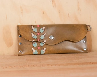 Leather Pouch or Clutch - Petal pattern with modern flowers in sage, pink and antique brown  - Envelope Clutch or Wristlet