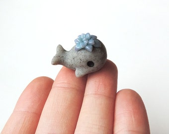 Polymer Clay Faux Stone Whale with Blue Succulent Figure