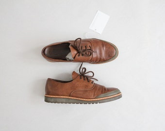 brown leather oxfords | men's oxfords 8.5 9 | vintage men's shoes