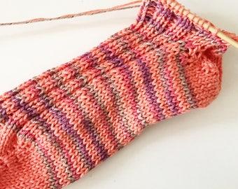 Sock knitting kit - blue and gray stripes - knitting kit - FREE shipping!