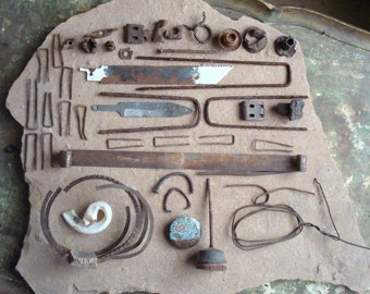 Rusty Metal Bits & Textured Pieces Found Objects Supplies for Assemblage, Altered Art, Sculpture - Industrial Salvage