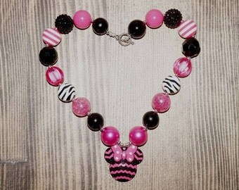 Chunky bead necklace Minnie mouse necklace pink black minnie necklace pink black necklace girls necklace bubblegum necklace.