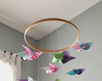 Baby Girl Mobile / Modern Mobile / Crib Girl / Nursery Mobile / Pink, Green, Purple, Raspberry, Aqua and Blue : Tutti Frutti