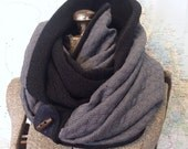 BLACK and QUILTED GREY infinity scarf - reversible, multiple styling options. Black and Grey sweater knits, denim and button accent.
